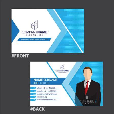 blue and white business cards design, vector Foto de archivo - 148426270