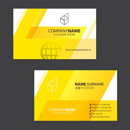 yellow and white business cards design, vector Foto de archivo - 149996199