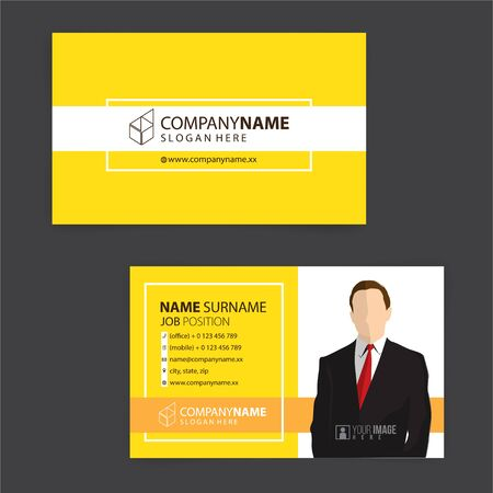 yellow and white business cards design, vector