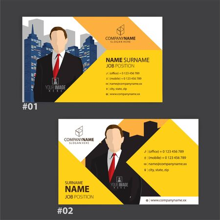 yellow and white business cards design, vector Foto de archivo - 149996229