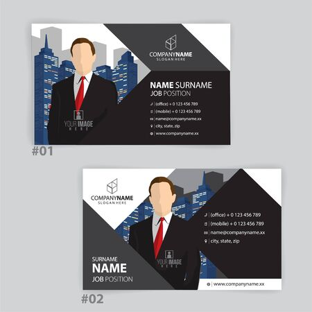 black and white business cards design, vector