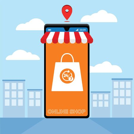 Mobile application for shopping, Online supermaket, Smartphone with shopping app. Foto de archivo - 149897123