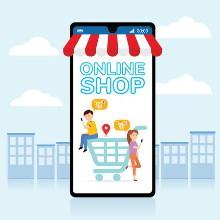 Mobile application for shopping, Online supermaket, Smartphone with shopping app. Foto de archivo - 149897266