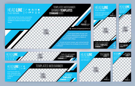 Blue Web banners templates, standard sizes with space for photo, modern design Foto de archivo - 151038426