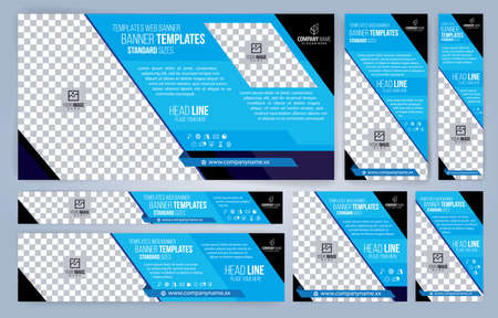 Blue Web banners templates, standard sizes with space for photo, modern design Vectores