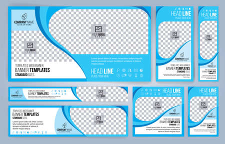 Blue Web banners templates, standard sizes with space for photo, modern design Foto de archivo - 151038450