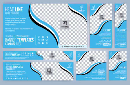 Blue Web banners templates, standard sizes with space