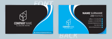Blue and Black business card template (Front and Back) Vector
