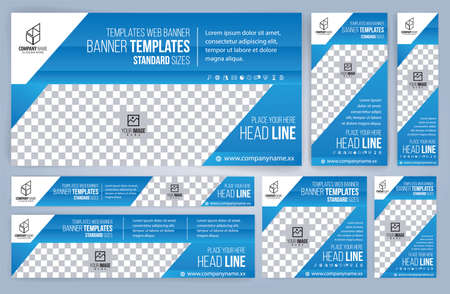 Set of Web blue banners templates, Standard sizes with space. Vector illustration