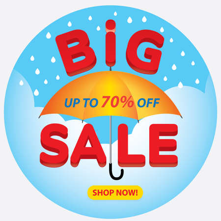 Big sale banner in Rainy season, flat design, background Vector Vektorové ilustrace
