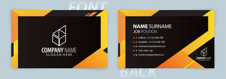 Yellow and Black business card template (Front and Back) Vector