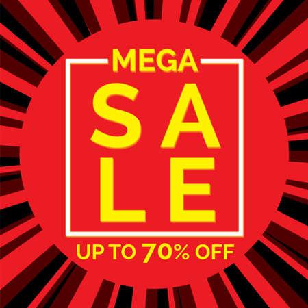 Mega sale banner in flat design, background Vector