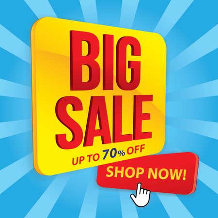 Big sale banner in flat design, background Vector Vectores