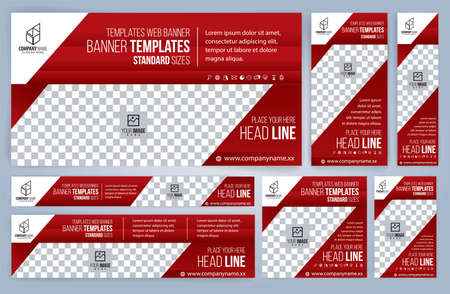 Set of Web red banners templates, Standard sizes with space. Vector illustration