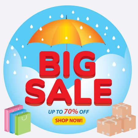 Big sale banner in Rainy season, flat design, background Vector