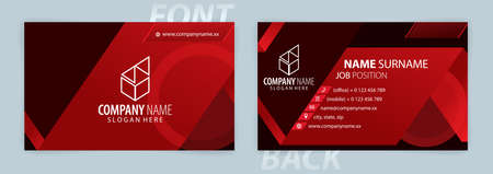 Red and Black business card template (Front and Back) Vector Vectores