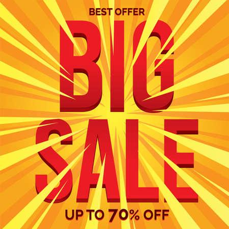 Big sale banner in flat design, background Vector Ilustrace