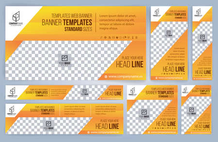 Set of Web yellow banners templates, Standard sizes with space. Vector illustration