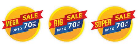 Mega sale, Big sale, Super sale banner in flat design, background Vector