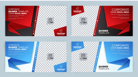 Black and Red, Blue and White Template banner cover ads, Vector Ilustrace
