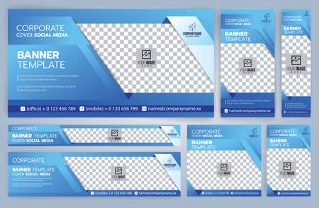 Set of Web banners templates, Standard sizes with space. Vector illustration Ilustrace