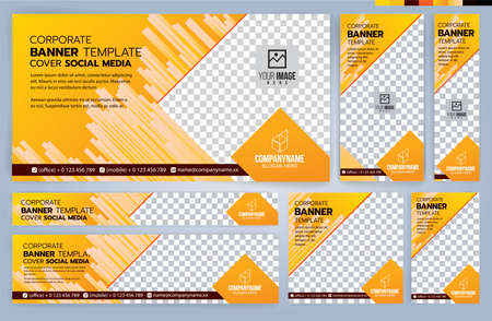 Set of Yellow and Black Web banners templates, Standard sizes with space. Vector illustration