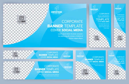 Set of Blue Web banners templates, Standard sizes with space. Vector illustration Ilustrace