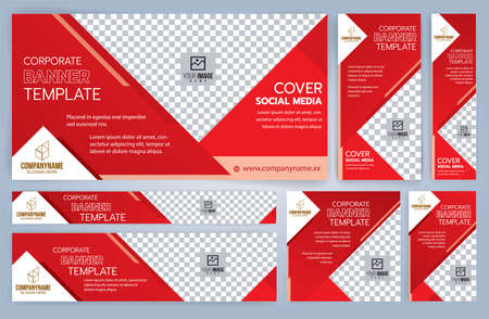 Set of Red and Black Web banners templates, Standard sizes with space. Vector illustration