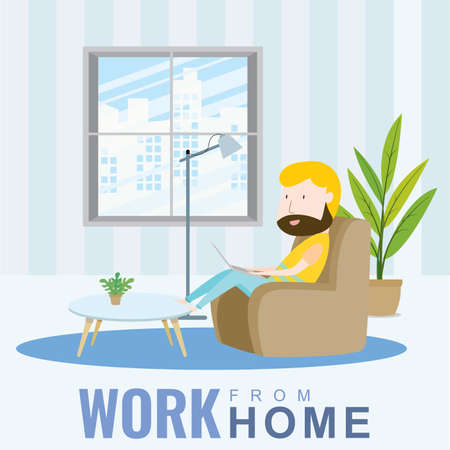 A man working at home sitting on the sofa, cartoon character, Vector 10