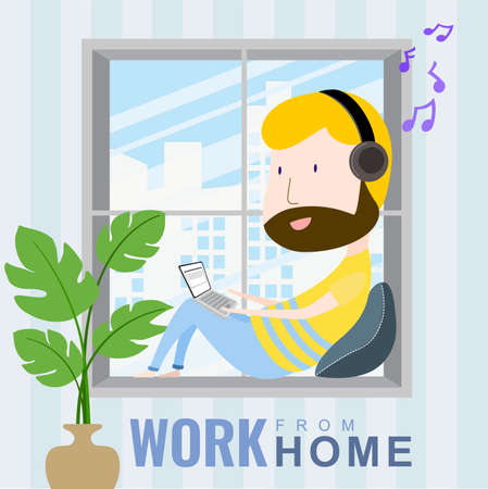 A man working at home on a laptop listening to music on the window. cartoon character, Vector 10 Ilustrace