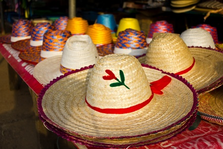 Woven hat shop in Thailand photo