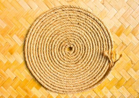 Manila rope, bamboo basketry Stock Photo