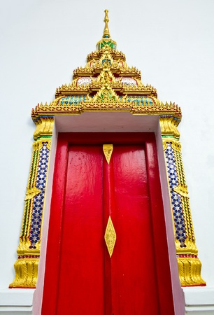 Buddhist Temple Church window Chumsaeng Nakhon Sawan. In Thailand Stock Photo