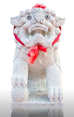 vigil: White lion statues, which sit vigil made of marble. Stock Photo