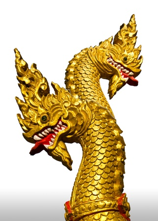 Cement statue gold double-headed NAGA. photo