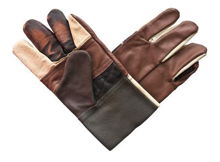 Mechanics gloves overlapping heart shape. photo