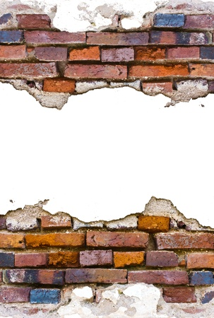 Old brick walls cement wall decay.