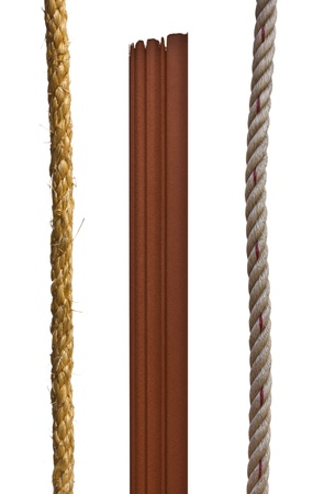 Brown wood and Manila rope.