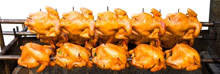 Rotating roast chicken, but not cooked