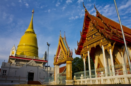 Golden pagodas and churches in Thai temples Stock Photo