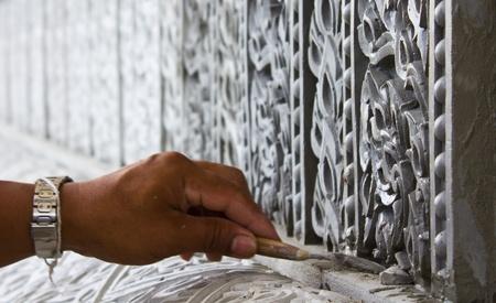 Craftsmen carved plaster form thai.