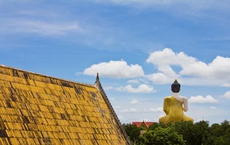 Behind of the large Buddha statue, Wat Khiri Wong, Nakhon Sawan, Thailand. Stock Photo - 10640883