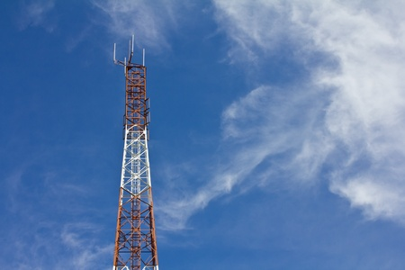 Antennas transmit and receive signals via satellite to use telecommuting. photo