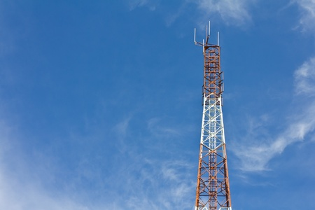 Antennas transmit and receive signals via satellite to use telecommuting. Stock Photo - 10686382