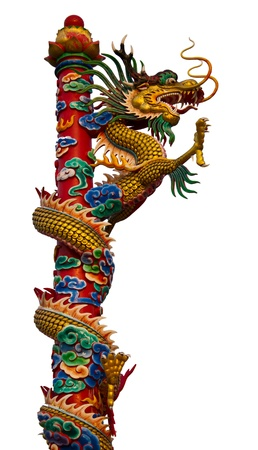 Dragon climbs a pole very high. Stock Photo