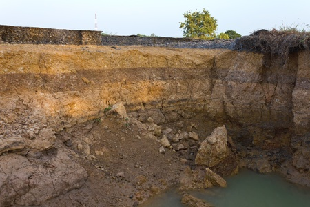 Condition of the road to water erosion as the cliff.