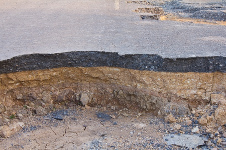 Condition of the road to water erosion as the canyon. Stock Photo