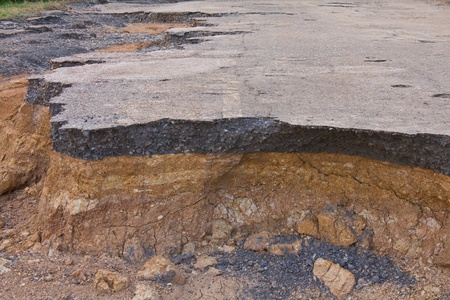 Condition of the road to water erosion as the canyon. photo