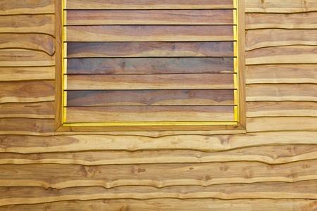 Wall louvers made of teak wood. photo