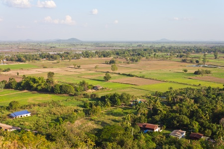 View of the rural areas where rice farming in Thailand. photo
